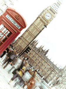 London Houses of Parliament and a telephone box by Assaf Frank