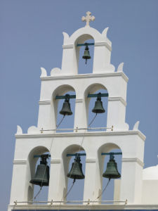 Low angle view of church, Greece island, Greek by Assaf Frank