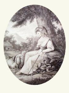 A Sheperdess (Restrike Etching) by Anonymous