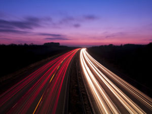 Strip Lights on Motorway, Long Exposure by Assaf Frank