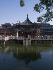 The Bridge of Nine Turnings at Yu Garden Shanghai China by Assaf Frank