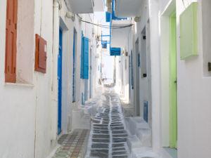 A narrow street in the Old Town,Cyclades Islands, Greece, Mykonos by Assaf Frank