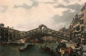 The Rialto (Restrike Etching) by Giovanni Canaletto
