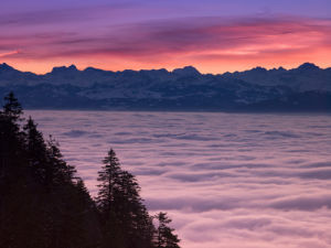 Mont Blanc Mountain Range at sunrise by Assaf Frank