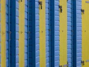 Beach huts doors close-up, Littlehampton England by Assaf Frank