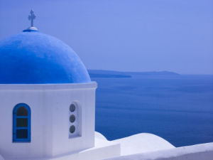 Greece, Santorini Island. View of church by Assaf Frank