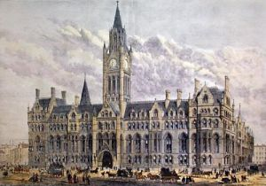 Manchester, New Townhall 1877 (Restrike Etching) by Anonymous