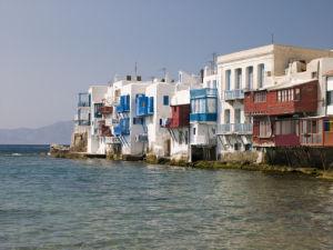 Mykonos Greece, Little Venice, Sea by building by Assaf Frank