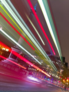 Trafalgar Square London Bus Strip Lights (II) by Assaf Frank