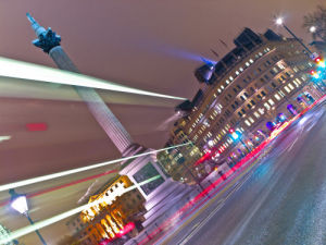 Bus Strip Lights, Trafalgar Square, London by Assaf Frank