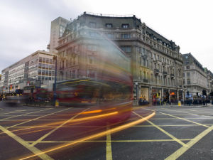 London bus at Oxford circus London by Assaf Frank