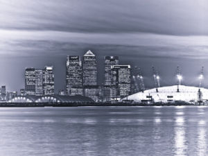 Canary Wharf and the Millennium Dome at night 2 by Assaf Frank