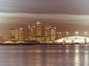 Canary Wharf and the Millennium Dome at night 4 by Assaf Frank