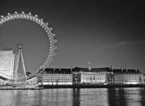London eye and city hall at night by Assaf Frank
