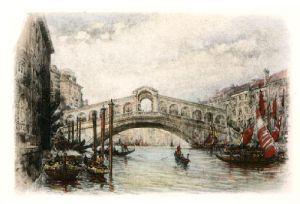 Rialto Bridge, Venice (Restrike Etching) by A.C. Fare