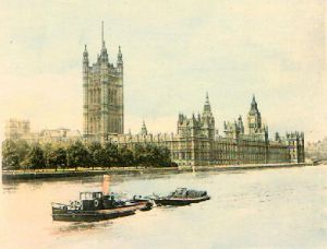 Houses of Parliament from River (Restrike Etching) by Anonymous