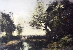 Bridge of Palluel (Restrike Etching) by Jean-Baptiste-Camille Corot
