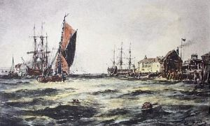 The Harbour in a Swell (Restrike Etching) by Thomas Bush Hardy