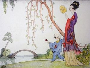 Oriental Bridge (Restrike Etching) by Stanley Woollett