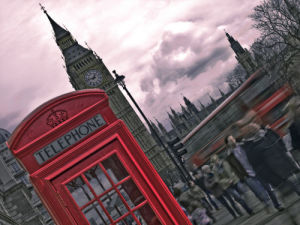 London Houses of Parliment telephone box and stormy clouds by Assaf Frank