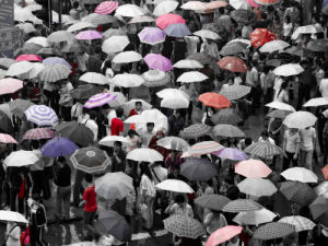 Umbrellas at railway station (I) by Assaf Frank
