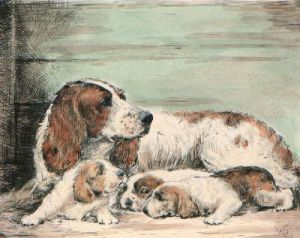 Newborn Pups (Restrike Etching) by Ward Binks