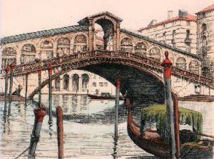 Rialto Bridge (Restrike Etching) by Anonymous