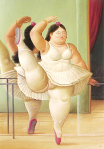 Ballerina to the Handrail by Fernando Botero