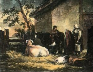 Milkmaid and Cowherd (Restrike Etching) by George Morland