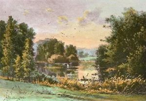 The Lake (Restrike Etching) by Georgina M De L'Aubiniere
