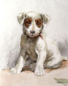 Jack Russell Puppy (Restrike Etching) by Herbert Thomas Dicksee