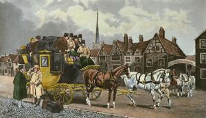 Old Times Changing Horses (Restrike Etching) by TNH Walsh