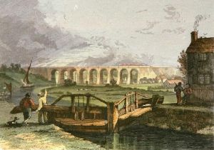 Viaduct over the Sankey Canal, (Restrike Etching) by I. Shaw