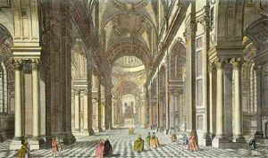 St Pauls (Interior) (Restrike Etching) by Jun'r Muller