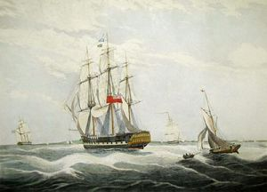 HMS MacQueen (Restrike Etching) by W.J. Huggins