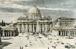 Rome, St Peter's Cathedral (Restrike Etching) by Harry C. Brewer