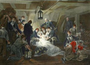 Death of Nelson (Coloured) (Restrike Etching) by Arthur William Devis
