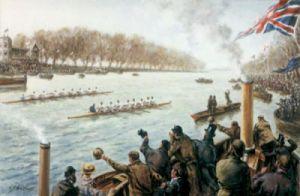 Boat Race - Dead Heat in 1877 (Restrike Etching) by Terence Gilbert