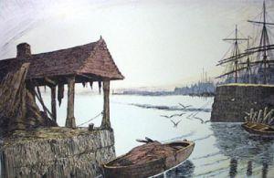 Low Tide in Port (Restrike Etching) by Geoffrey S. Garnier