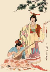 Oriental - Playing Mandolin (Restrike Etching) by Geoffrey S. Garnier