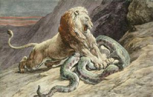 Victory (Lion & Snake) (Restrike Etching) by Herbert Thomas Dicksee