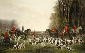 The Meet at Blagdon (Restrike Etching) by J.W. Snow