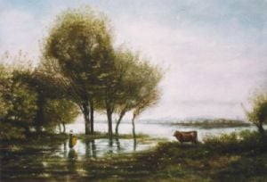 Le Marais (Restrike Etching) by Jean-Baptiste-Camille Corot