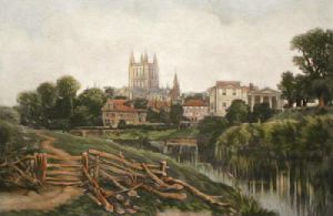 Hereford Cathedral (Restrike Etching) by Anonymous