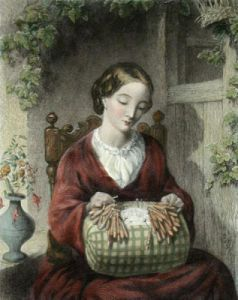 Pillow Lace Maker (Restrike Etching) by Thomas Woolner