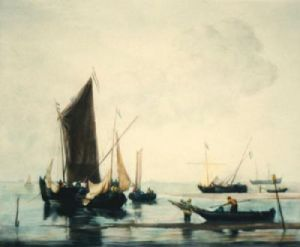 Boats at low Water (Restrike Etching) by Willem Van de Velde