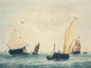 Ships in a Breeze (Restrike Etching) by Willem Van de Velde