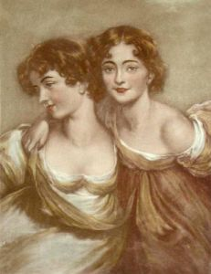 Two young girls (Restrike Etching) by Anonymous