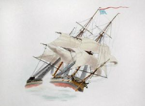 Trafalgar - Bow View (Restrike Etching) by W.J. Huggins
