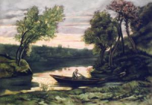 Evening (Restrike Etching) by Jean-Baptiste-Camille Corot